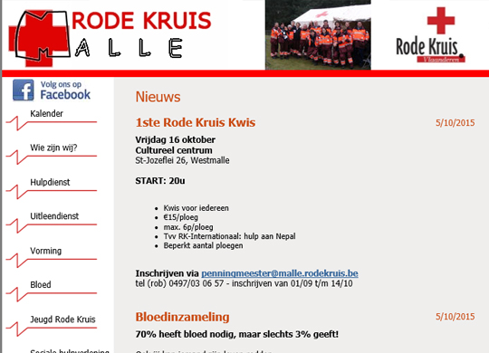 Rodekruis Malle Website