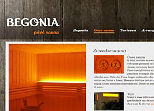 Prive sauna Begonia Website